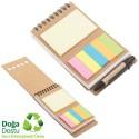 Toptan Geri Dönüşümlü Spiralli Bloknot - Kalemli ve Renkli Yapışkan Notluklu AGD24132