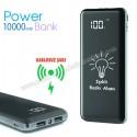 Toptan Kablosuz PowerBank 10000 mAh - Işıklı Baskı - Dijital Ekranlı APB3834