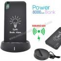 Toptan Kablosuz PowerBank 8000 mAh - Işıklı Baskı - 2 Çıkışlı APB3833