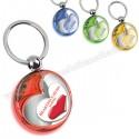 Toptan Kalp Figürlü Anahtarlık Şeffaf Renkli Çift Taraflı AA1554-S