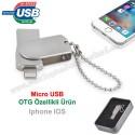 Toptan OTG Flash Bellek 16 GB - IOS Iphone OTG Özellikli - Metal AFB3253