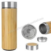 Toptan Termos 450 mL - Bambu & Metal - Filtreli ATM21139