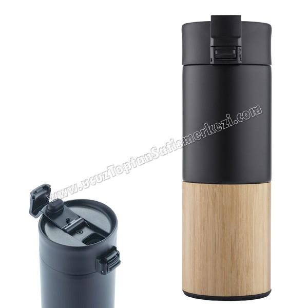 Toptan Termos Bardak - Kupa - Mug 450 mL - Kulpsuz - Metal & Bambu ATM21151